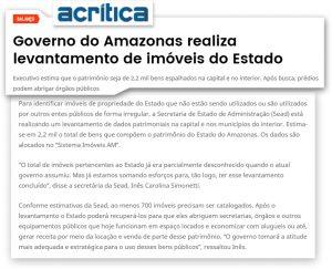 Portal A Crítica divulga trabalho da Sead sobre inventário de imóveis