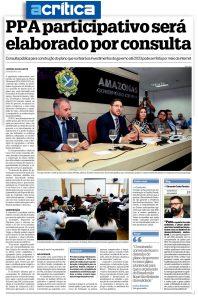 Jornal A Crítica divulga lançamento do PPA participativo