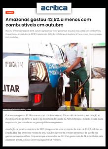Portal A Crítica destaca que Amazonas gastou 42,5% a menos com combustíveis em outubro