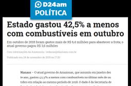 Portal D24am – Estado gastou 42,5% a menos com combustíveis em outubro