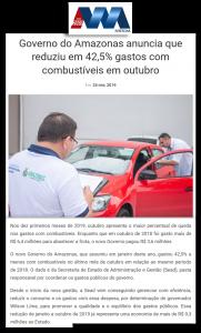 Portal Amazonas Notícias – Governo do Amazonas anuncia que reduziu em 42,5% gastos com combustíveis em outubro