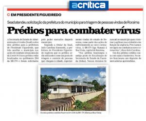 Jornal A Crítica – Prédios para combater vírus