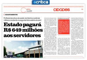Jornal A Crítica – Estado pagará R$ 649 milhões aos servidores